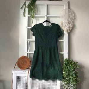 Dolce Vida Forest Green Lace Dress